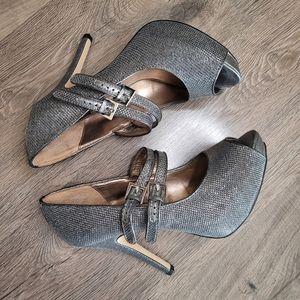 Worthington Size 8 Lara Silver Heels with Buckle